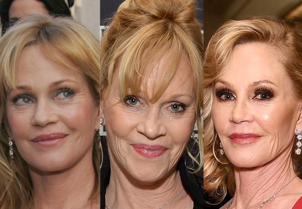 Melanie Griffith em 2005, em 2013 e em 2016 (Foto: Getty Images)