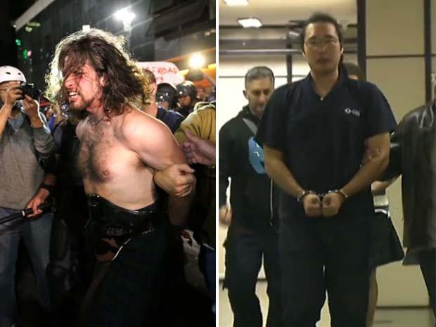 Rafael Lusvarghi (à esquerda) e Fábio Harano (à direita) foram presos na segunda-feira (23) suspeitos de serem black blocs  (Foto: Estadão Contéudo / Reprodução TV Globo)