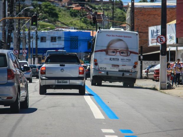 Faixa exclusiva na parte baixa da cidade foi ativada há dois meses (Foto: Ascom / SMTT)