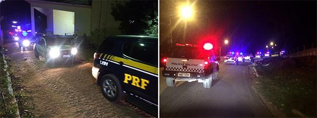 Presos foram transferidos à noite; um comboio de carros da PM e PRF fizeram a escolta dos detentos (Foto: Kleber Teixeira/ Inter TV cabugi)