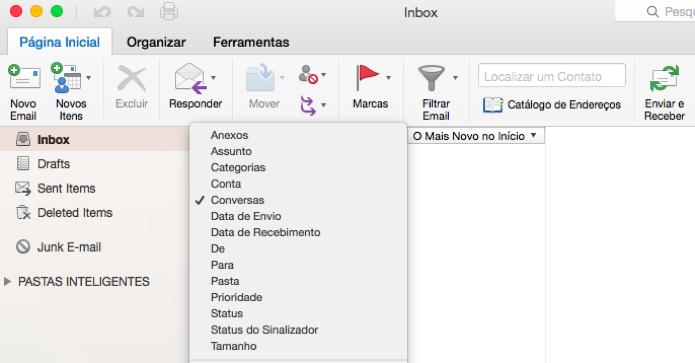 E-mails do Outlook podem ser agrupados em conversas (Foto: Reprodução/Paulo Alves)