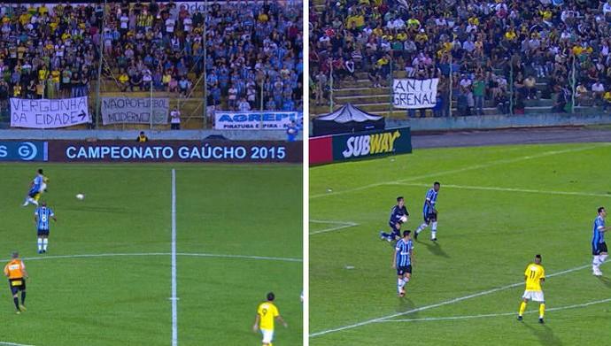 Ypiranga x Grêmio Faixas torcida Grêmio ypiranga (Foto: Reprodução/RBS TV)