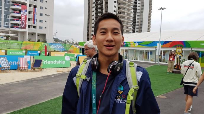 Joshua Ilustre, atletismo Guam (Foto: Rodrigo Alves/GloboEsporte.com)
