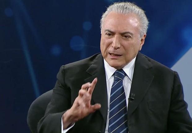 O presidente Michel Temer em entrevista à TV Bandeirantes (Foto: Reprodução/TV Bandeirantes)