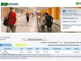 Site da Infraero mostra horário previsto de chegada do voo TP 011 (Foto: Reprodução/ Site da Infraero)
