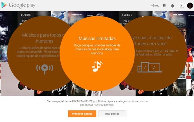 Tela inicial do serviço Google Play Música, disponibilizado a todos os usuários nesta segunda (17) (Foto: Reprodução/Google)