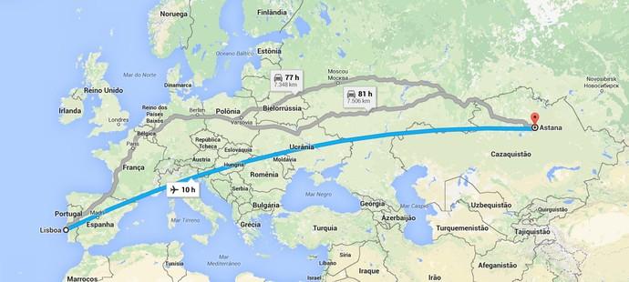 Mapa Lisboa Benfica Astana (Foto: Reprodução / Google Maps)