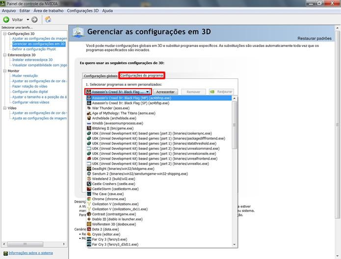 """Em """"Configurações de programa"""" é possível customizar os parâmetros de games e programas específicos (Foto: Reprodução/Daniel Ribeiro)"""