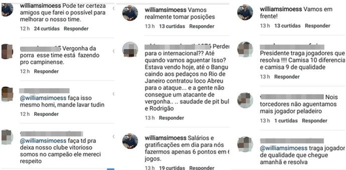 William Simões responde a torcedores do Campinense através de redes sociais (Foto: Divulgação / Instagram)