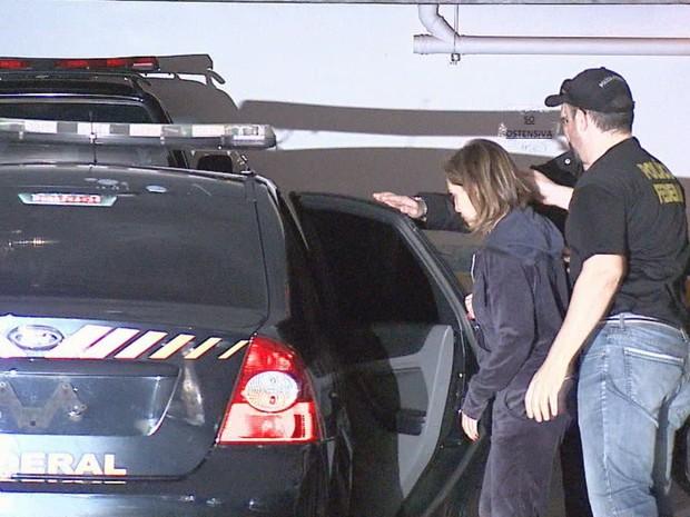 Dárcy Vera (PSD) foi levada ao prédio da Polícia Federal na manhã desta sexta-feira (2) em Ribeirão Preto (Foto: Reprodução/EPTV)