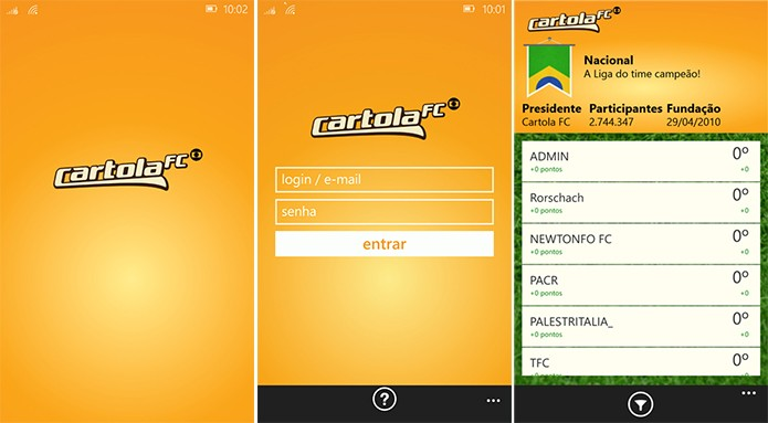 Cartola FC é um fantasy game onde o usuário negocia jogadores do brasileirão (Foto: Divulgação/Windows Phone Store)