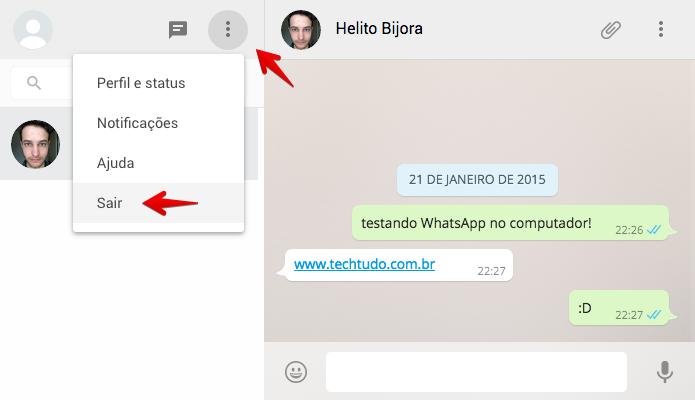 Finalizando sessão do WhatsApp no navegador (Foto: Reprodução/Helito Bijora)