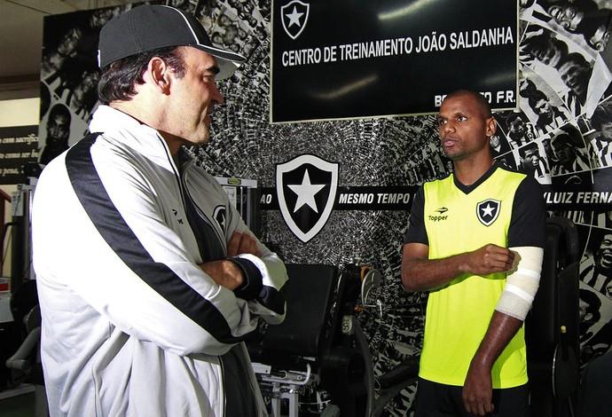 Ricardo Gomes e Jefferson Botafogo (Foto: Thiago Lima/ Globoesporte.com)
