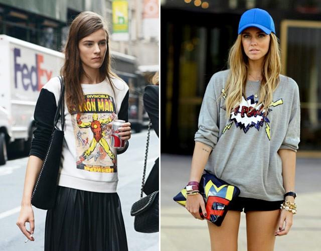 Camisetas e moletons estampados ganham produções que levam o clima cartoon às ruas, como nos cliques de streetstyle (Foto:  )