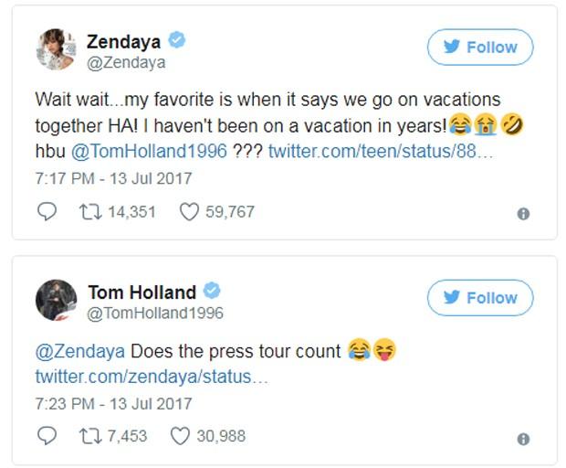 Tom Holland e Zendaya no Twitter (Foto: Reprodução/Twitter)