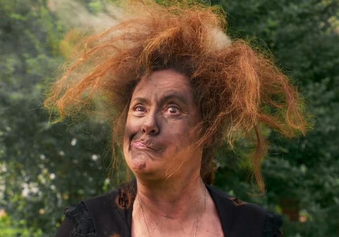 Cunegundes tomou um raio na cabeça durante a novela (Foto: TV Globo)
