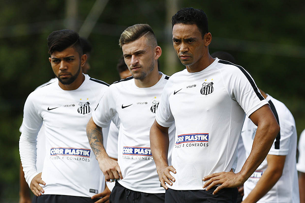 Gabriel, Lucas Lima e Ricardo Oliveira (Foto: Ricardo Saibun/Divulgação Santos FC)