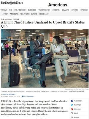 Joaquim Barbosa no 'NYT' (Foto: Reprodução)