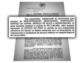 Ação pedindo bloqueio de R$ 6,3 milhões das contas do governo do estado (Foto: Arte: Adelmo Paixão)