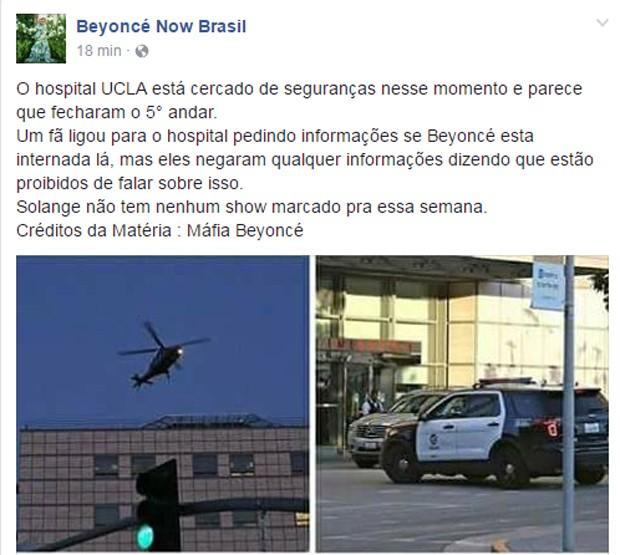 Supostas imagens do UCLA Hospital, onde Beyoncé estaria prestes a dar à luz (Foto: Reprodução/Facebook)
