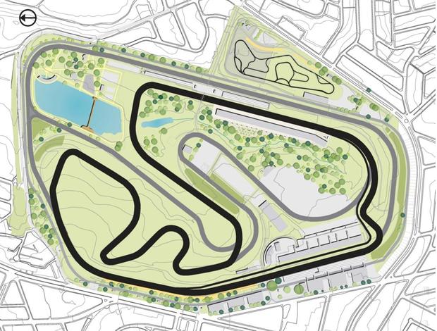 Planta do Autódromo de Interlagos com o novo complexo de boxes da reta oposta (Foto: Divulgação SPTuris)