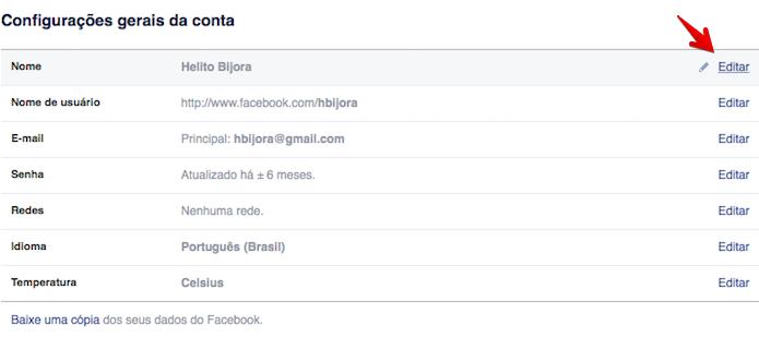 Editando nome na rede social (Foto: Reprodução/Helito Bijora)