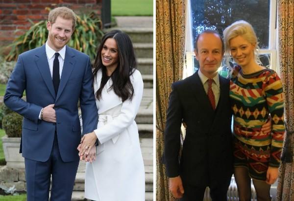 A atriz Meghan Markle com o noivo, o Príncipe Harry, e o líder do partido Ukip com a namorada (Foto: Getty Images/Reprodução)