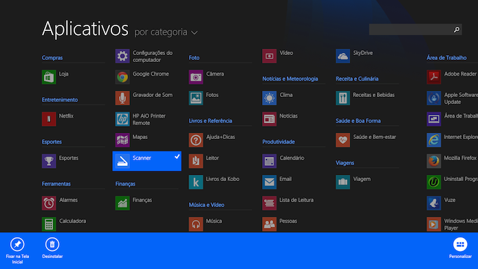 O Windows 8.1 permite que os usuários possam escolher quais aplicativos quer fixar na tela inicial (Foto: Reprodução/Marvin Costa)