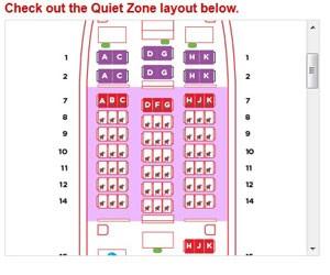 Mapa de aeronave da Air Asia mostra Quiet zone (zona de tranquilidade proibida para crianças) (Foto: Reprodução/www.airasia.com)