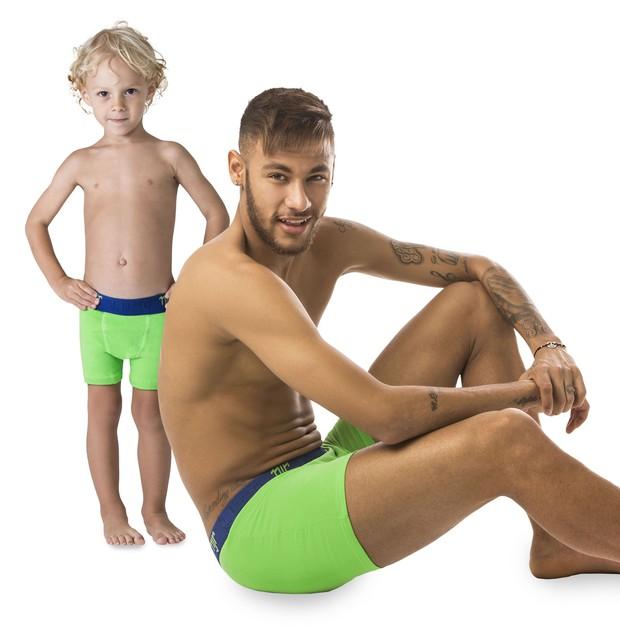 Neymar com o filho em campanha (Foto: Agile Comunicação / Divulgação)