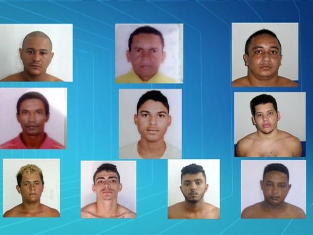 Polícia divulgou a fotos de 10 detentos que fugiram da cadeia em Cristalândia (Foto: Reprodução/TV Anhanguera)