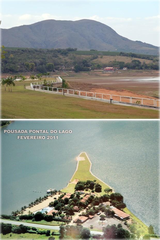 Foto mostra Lago de Furnas em 2014 (acima) e fotografia na parede da pousada mostra como o lago estava no mesmo ponto no início de 2011, em Carmo do Rio Claro (Foto: Samantha Silva / G1)