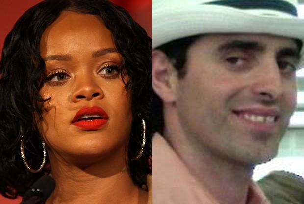 Rihanna e Salmir Feratovic, stalker que persegue a cantora (Foto: Getty Images e Reprodução)