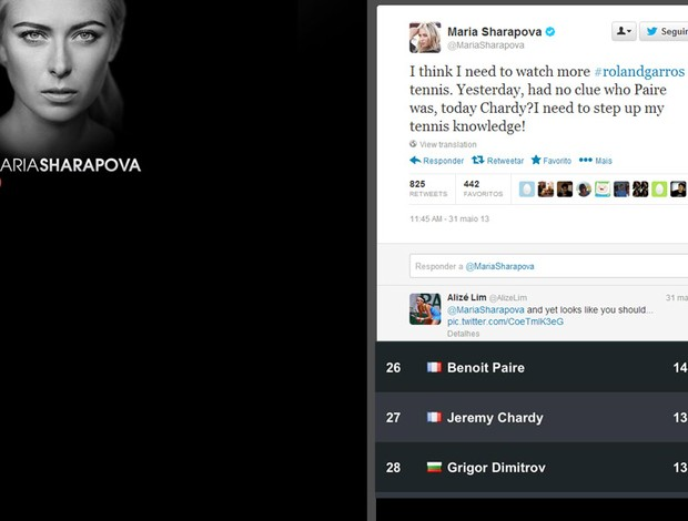 Reprodução twitter Maria sharapova e Alize Lim (Foto: Reprodução / Twitter)