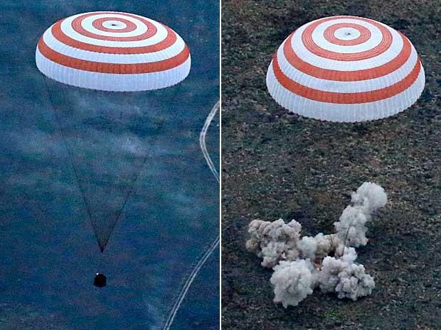 A cápsula russa Soyuz TMA-16M pousa em segurança (Foto: Yuri Kochetkov / Pool / via AP Photo)