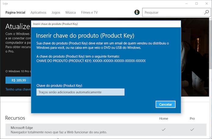 Entre com a chave do Windows 10 Pro (Foto: Reprodução/Helito Bijora)