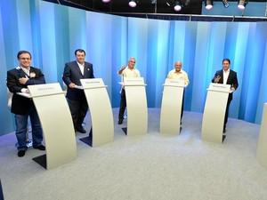 Candidatos participaram de debate na TV Amazonas (Foto: Katiúscia Monteiro/ Rede Amazônica)