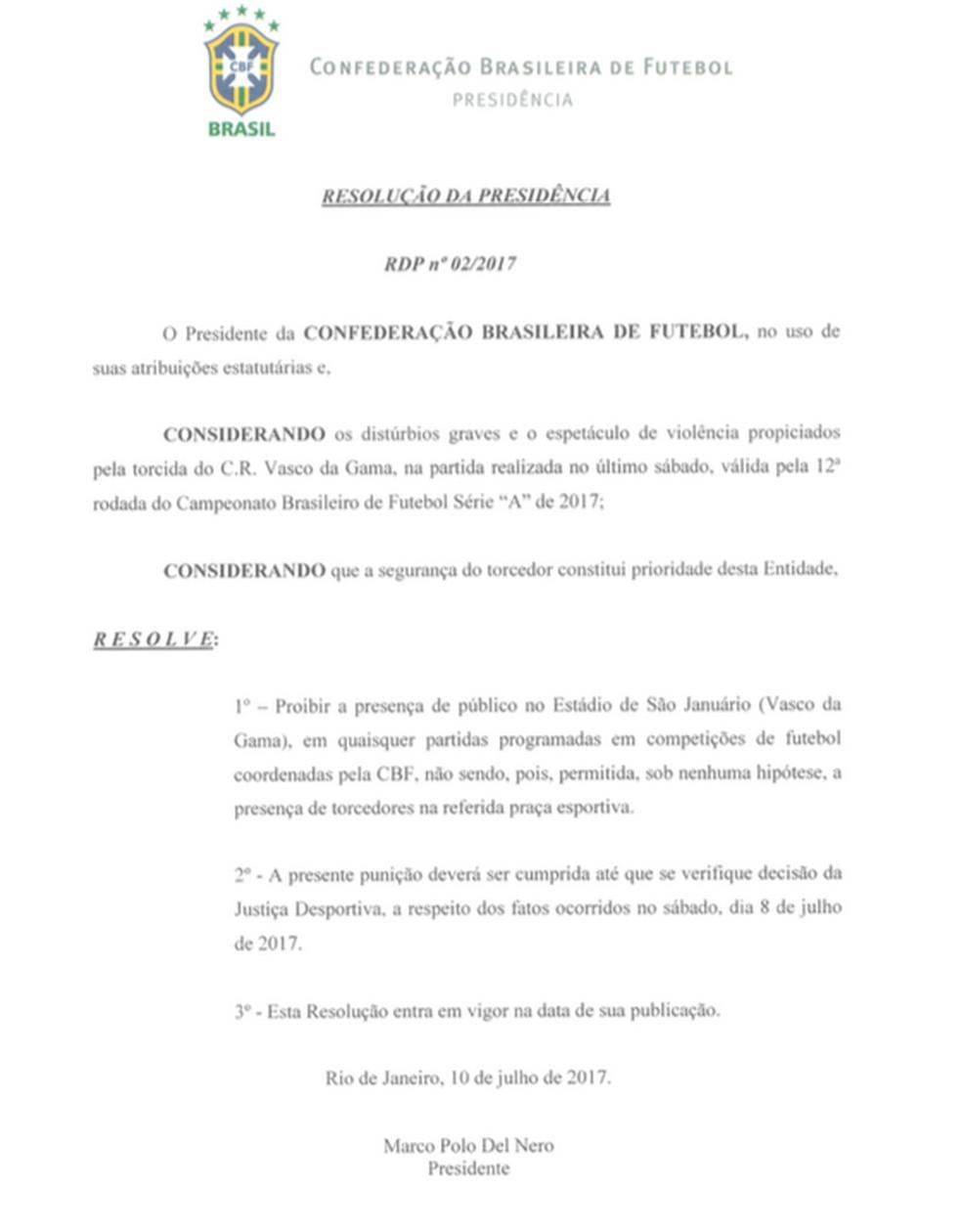 Documento da CBF assinada por Marco Polo Del Nero (Foto: Reprodução)