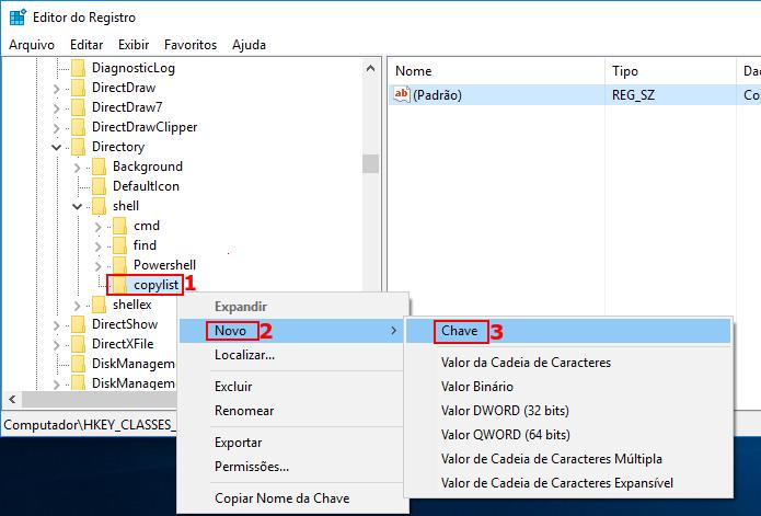 Iniciando a criação de uma nova chave no registro do Windows (Foto: Reprodução/Edivaldo Brito)