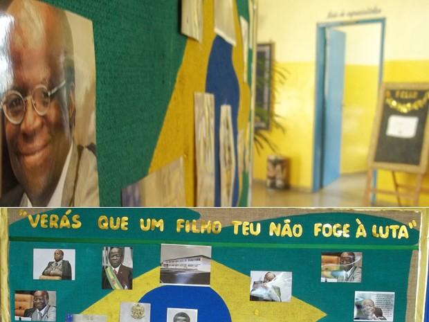 Painel com imagens de Joaquim Barbosa na escola estadual Antonio Carlos, onde ele estudou, em Paracatu (Foto: Cíntia Acayaba / G1)