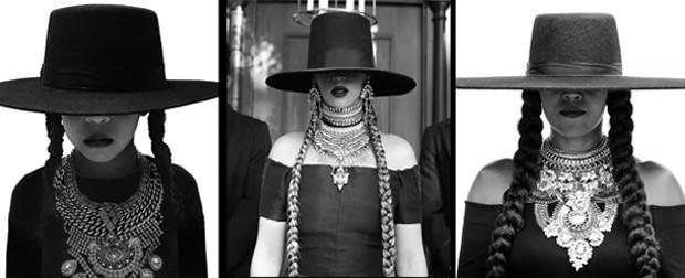 Beyoncé (no meio) recebe homenagem de Blue Ivy (dir.) e Michelle Obama (esq.) (Foto: Reprodução/Divulgação)