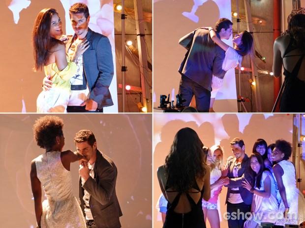 Murilo faz fotos rodeado de modelos (Foto: Em Família/ TV Globo)
