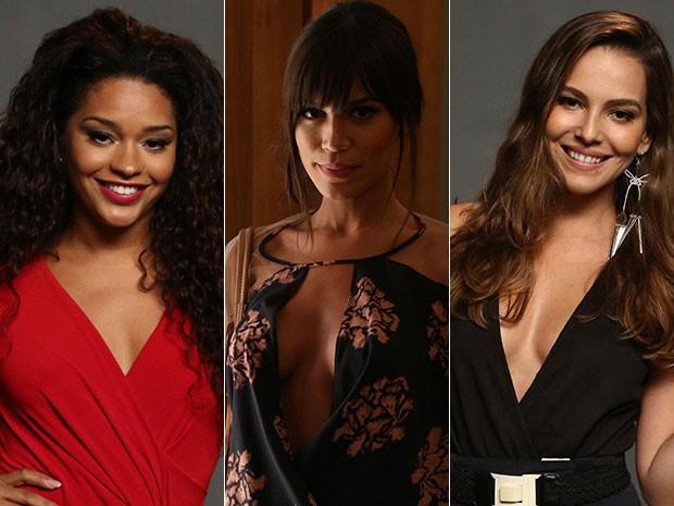 Decotes marcaram looks de atrizes durante a coletiva (Foto: Raphael Dias/Gshow)