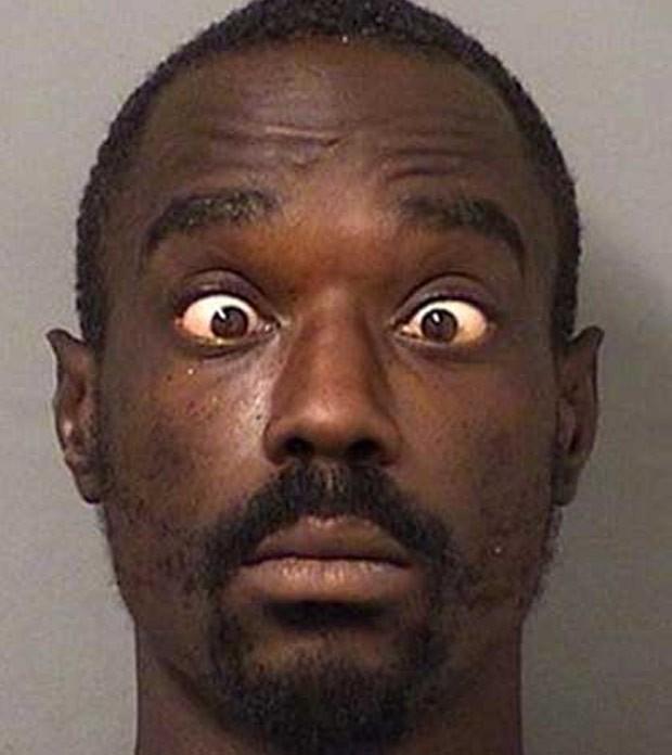 Jefferson King ficou com olhos arregalados ao ser preso por exposição indecente (Foto: West Palm Beach Police)