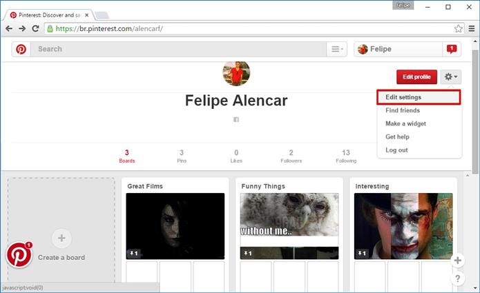 Acesse as Configurações do seu perfil (Foto: Felipe Alencar/TechTudo)