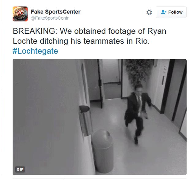 URGENTE: Nós conseguimos filmagem do Ryan Lochte deixando seus colegas para trás no Rio  (Foto: Reprodução/Twitter)