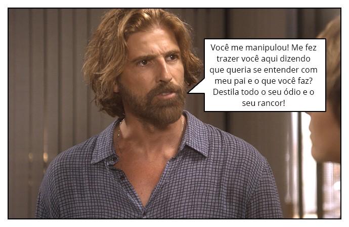Pedro simula uma briga com Helô na frente de Mág (Foto: TV Globo)