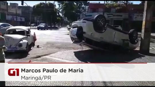 Acidente entre dois carros no Centro de Maringá deixa criança ferida