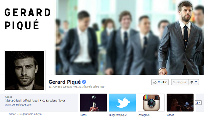 Gerad Piqué do Barcelona tem 11,650,004 de fãs no Facebook (Foto: Reprodução/Facebook)