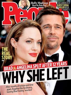 """Angelina Jolie e Brad Pitt na capa da revista """"People"""" (Foto: Reprodução)"""